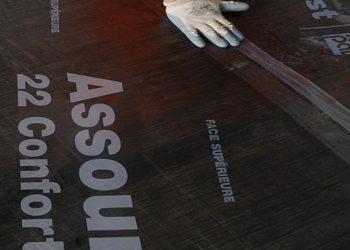 La sous-couche acoustique Assour 22 Confort de Siplast allie d'excellentes performances acoustiques et une grande résistance mécanique. [©Stéphane Danna/Realis pour Siplast]