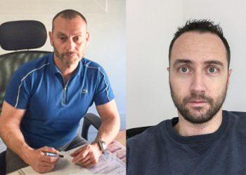 En 2004, Eric Kalkias (à gauche) a racheté l'entreprise de revêtements Duclaux. Cousin d'Eric, Mathieu Fontana a rejoint la société en 2010. [©Duclaux Kalkias Chape Liquide]