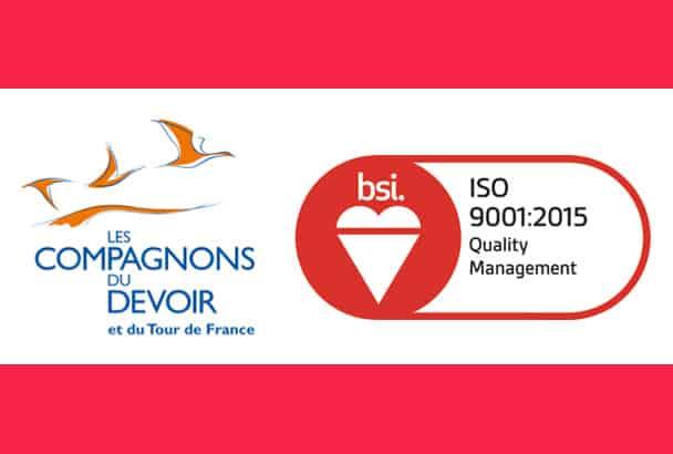 Certification ISO 9001:2015 pour les Compagnons du Devoir