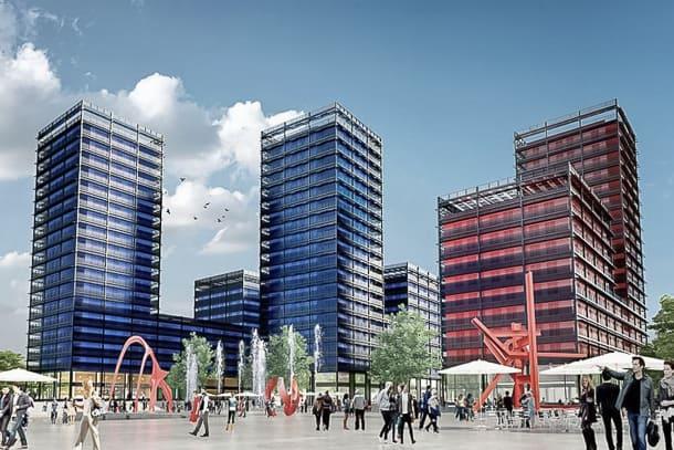 """L'ensemble des """"Black Swans"""" est le plus grand programme immobilier de la décennie dans la capitale alsacienne, regroupant trois tours, qui culmineront à 50 m de haut au maximum. [©Icade Immobilier]"""