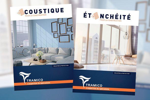 Les deux nouveaux catalogues recensent les grandes familles de solutions de l'entreprise : l'étanchéité et l'acoustique. [©Tramico]