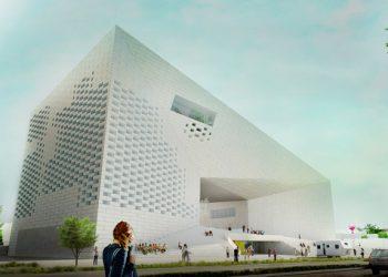 La Meca en forme d'arche asymétrique sera inaugurée début 2019. [©Bjarke Ingels Group/ Freaks freearchitects]