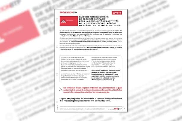 Le Guide de préconisations sanitaires face au Covid-19 est disponible en téléchargement sur le site de l'OPPBTP. [©OPPBTP]