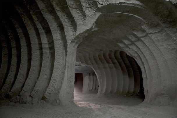Carrière de gypse de Caliano dans la province d'Asti, en dessous de la nouvelle usine de plaques de plâtre. [©Fassa Bortolo]