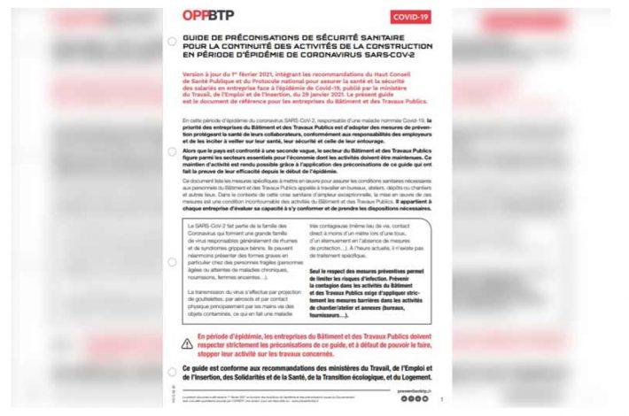 Cette nouvelle fiche conseil de l'OPPBTP vient compléter la boîte à outils Covid19. [©OPPBTP]