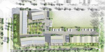 Plan au 200e de l'opération, dont les quatre bâtiments en R+2 sont concernés par une approche répondant à l'arrêté « Douche zéro ressaut » du 11 septembre 2020. [©M'Cub et AOO3architectes]